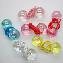 Wholesale 6 pcs/set elastic hair bands clear colorful beads crunchies ponytail holders headwear for girls hair accessories