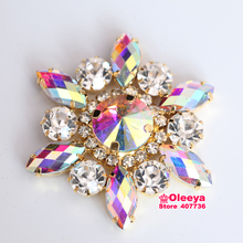 5x5cm Clear Crystal Navette Round Sewing On Rhinestone Applique 1 pcs Gold Base Wedding Dress Y3665(China)