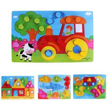Wooden Board Jigsaw Cartoon Early Educational Toy for Kid Match Color Cognitive Toy Family Game Farm Sea Animal House Child Gift