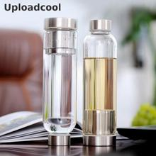Uploadcool _ 550ml Glass Sport Water Bottle With Tea Filter Infuser Protective Bag Fruit Outdoor Bpa Free Water Bottle With Bag(China)