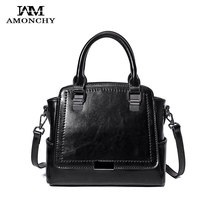 AMONCHY Brand Genuine Leather Female Bags New Arrival Stylish Women Shoulder Messenger Bags Real Skin Handbag Autumn Winter 2017