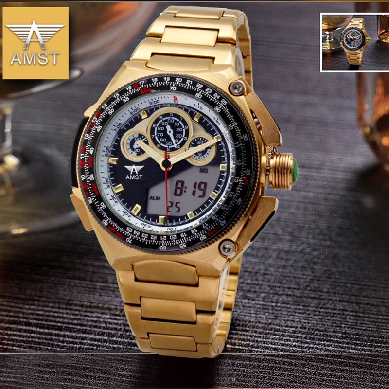 AMST Brand Men Luxury Gold Stainless Steel Quartz Watch Led Digital Multi-function Waterproof Military Wristwatch With Gift Box<br>