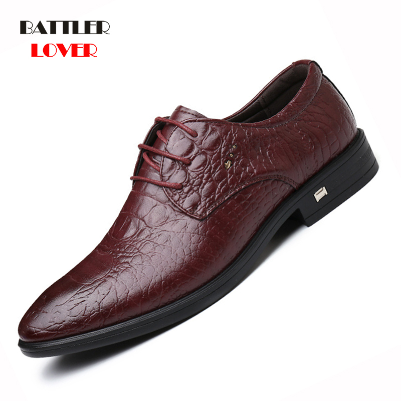 2019 New Brand Genuine Leather Men Shoes Crocodile Pattern Hand-made Casual Flats Men Business Oxfords Hombre Male Leather Shoes