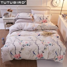 Girls bedding set flowers and birds printed kids children bedding sets 4 pieces twin full queen king size bed linen(China)