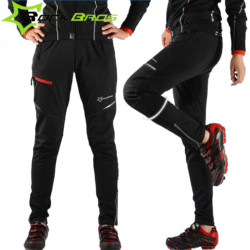 RockBros Men Winter Thermal Cycling Pants Mtb Downhill Mounhtain Bike Fleece Pants Bicycles Long Trousers Cycling Clothing Black<br><br>Aliexpress