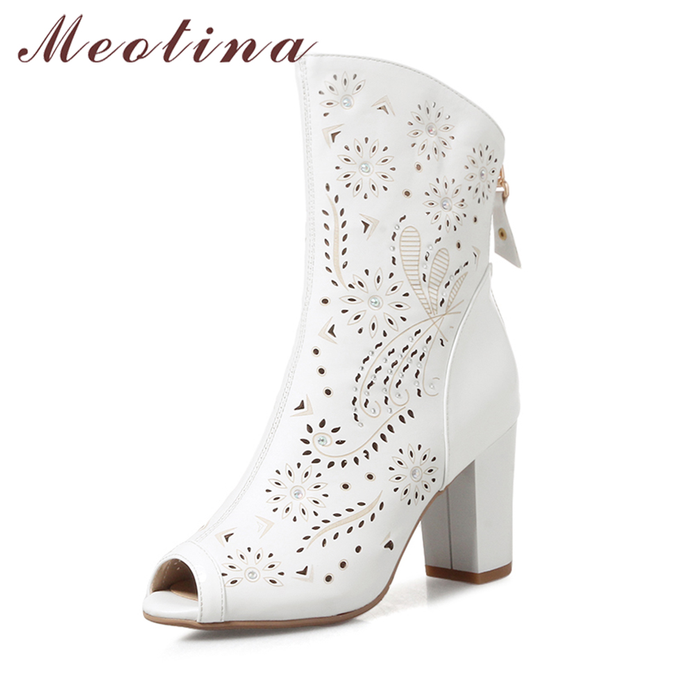 Meotina Genuine Leather Women Boots High Heels Autumn Summer Ladies Boots Peep Toe Mid Calf Boots Zip Cutout Women Shoes White<br>