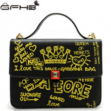 Luxury Handbags Women Bags Designer Sac a main Luxe Graffiti Printing Michaeled Handbag Fashion Style Leather Lock Messenger Bag