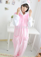 Women Pink Hello Kitty Onesie Adult Pajamas Cartoon Animal Sleepwear Pyjamas Kid Halloween Cosplay Costumes