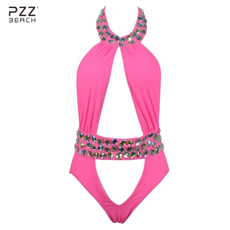 2017 Sexy High Neck One Piece Suits Diamond Swimsuit Crystal Women Swimwear Luxury Rhinestone Bikini High Waist Bathing Suits<br>