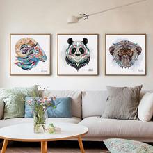 Ethnic Style Pattern Animal Lion Tiger Portrait Poster Hemp Canvas Photo Art Wall Modern Home Decoration Abstract Art Painting(China)