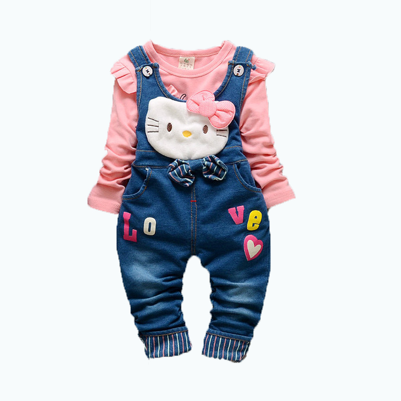 New Spring Design Cute Baby Girls clothes set t shirt + denim overalls Bib Pants Pink Kitty Print Harem Pants Long Trousers<br><br>Aliexpress