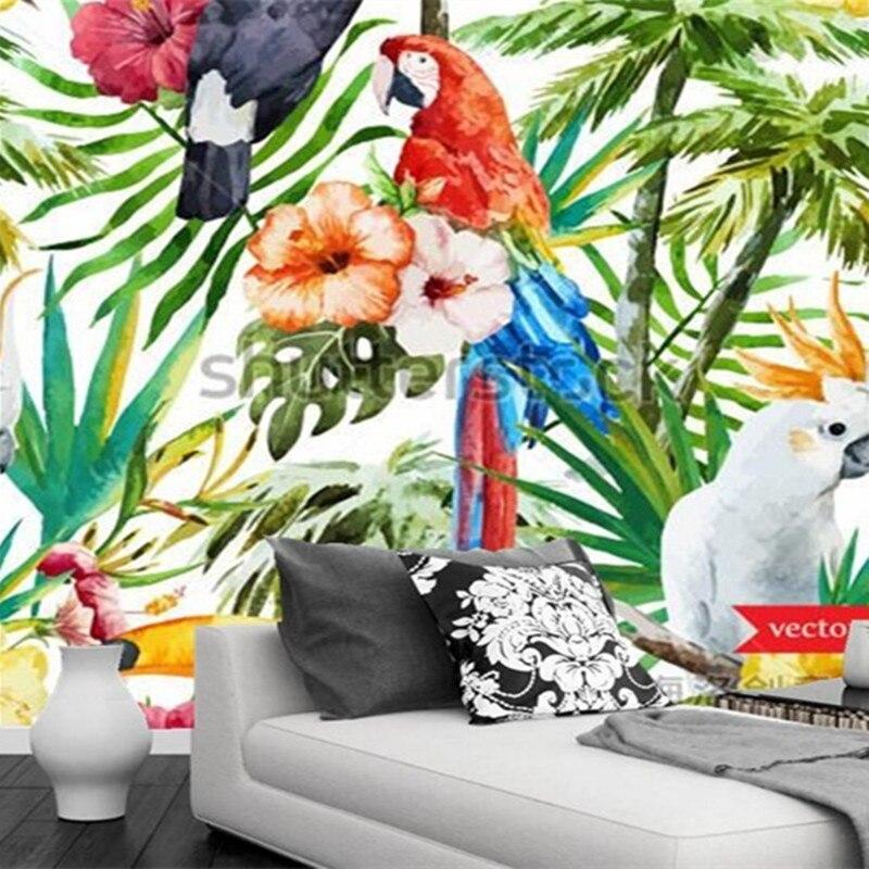 Custom 3d murals,The jungle toucans watercolor painting papel de parede,hotel bar living room sofa TV wall bedroom wallpaper<br>