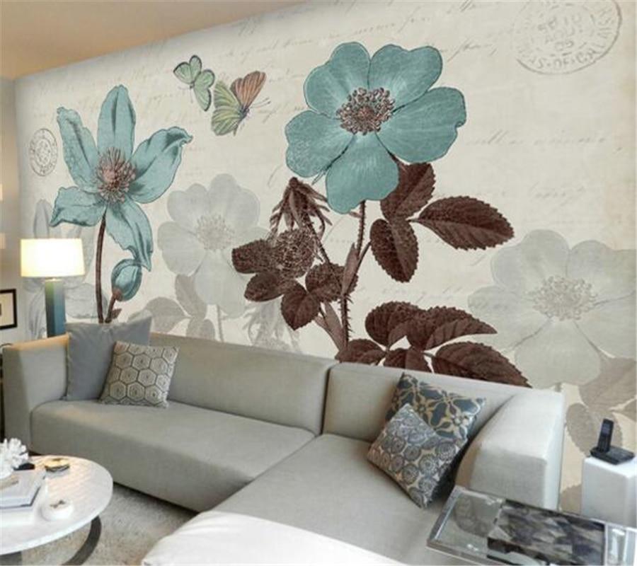 papel de parede American blue rose flower art wallpaper murals living room bedroom wallpaper home decoration 3D wallpaper Photo<br><br>Aliexpress