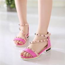 Retro girl rivets Roman sandals 2017 new fashion children's high heels for girls open-toed sandals Kids sandals for girls shoes