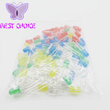100pcs 5mm LED diode Light Assorted Kit DIY LEDs Set White Yellow Red Green Blue free shiiping