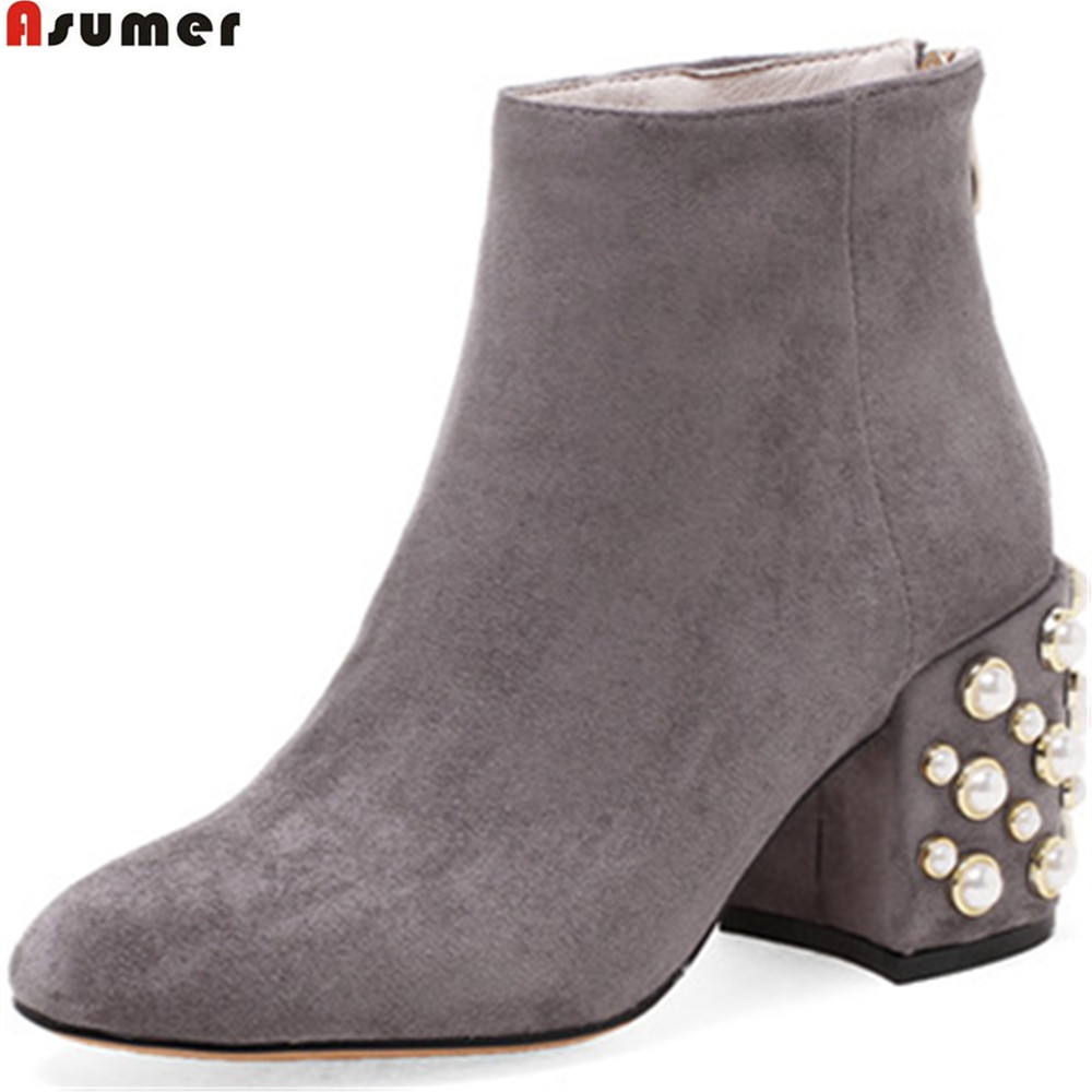 ASUMER fashion spring autumn women shoes square heel flock ladies boots black gray zipper square  ankle boots big size 34-43<br>