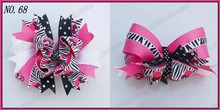 "free shipping 145pcs 6"" big layered boutique bow animal print bows accessories popular hair clips newest big bows(China)"