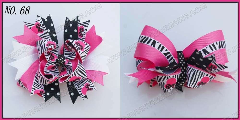 "free shipping 145pcs 6"" big layered boutique bow animal print bows accessories popular hair clips newest big bows(China (Mainland))"
