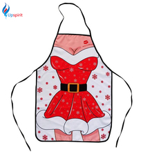 Christmas Decoration Apron Restaurant Home Kitchen Apron Cartoon Sexy Lady Printed Cooking Apron Creative Cuisine Pinafore