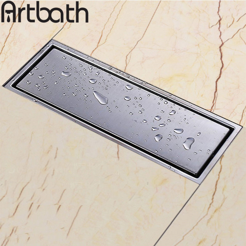 ARTBATH High quality stainless steel 300 x 110mm square anti-odor floor drain bathroom invisible shower drain free shipping<br>