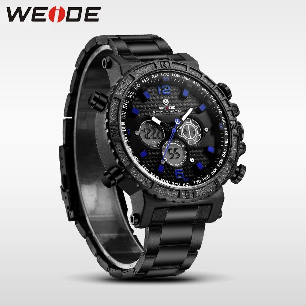 WEIDE genuine luxury brand watch sport Week Display stainless steelin quartz men Wrist watches quartz contracted water resistant<br>