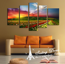 New Artist  New Style Beauty Flowers Sunsets Within Colors 5 Panels A Lot Wall Art Pictures Canvas Printed Wall Art work