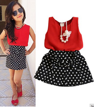 2016 New Summer Fashion Kids Girls Clothes Sleeveless Chiffon Tops Vest Polka Dot Bowknot Skirt Outfits Children  Clothing Sets