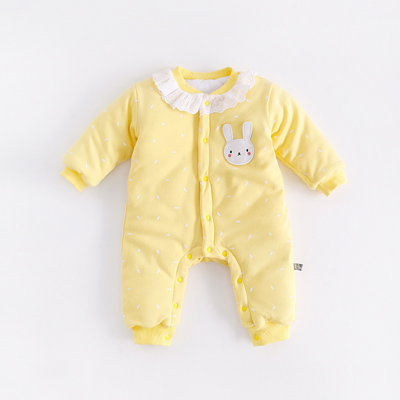 Peninsula baby autumn/winter baby Climbing Clothes cartoon cat cute soft baby romper thick cotton warm long sleeve baby jumpsuit<br>