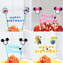 1pc Mickey Minnie Mouse Cupcake Cake Topper Cake Flags With Paper Straw Kids Birthday Party Baking Accessories Decorations