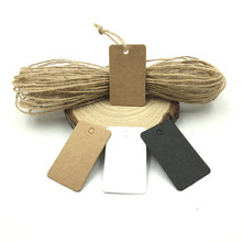 100pcs/lot White Black Brown Kraft Paper Tags DIY Mini Square Labels Luggage Wedding Note Blank Price Hang Tag String 2*3.3cm