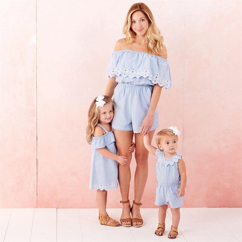 Family Clothes Womens Off Shoulder Jumpsuit Kids Girls Dress Playsuit Denim Like