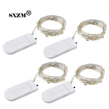SXZM 10pcs/lot Copper Led Fairy Lights 2M 20 Leds CR2032 Button Battery Operated LED String Light Xmas Wedding party Decoration