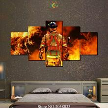 4 or 5 Pieces Fire Fighter Man Modern Wall Art Canvas Printed Painting HD Prints Modular Poster Wall Pictures for Home Decor(China)