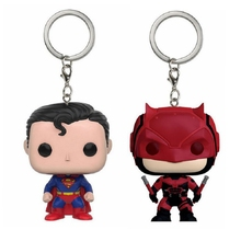 DC Movie Heroes Superman Keychain Vinyl Figure PVC Doll Daredevil Red Suit Collectible Model Toy Bobble Head Toys Party Supplies