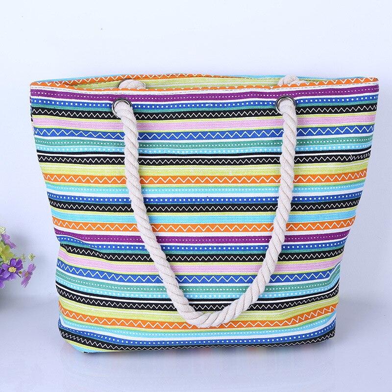 2016 new women canvas bag stripe printing handbags large capacity shoulder bags all-match Beach handbags shopping bag<br><br>Aliexpress