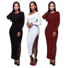 Buy Long Sleeve Sexy Club Women Dress Knitted Sweater Knee-Length Bodycon Dress Plus Size Women Clothing Evening Red Dress for $41.08 in AliExpress store