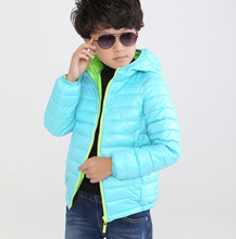 Retail New Boys Down Jacket Kids Winter Casual Hooded Thick Coats Children Warm Solid Striped Outerwear For 4-8 Years old