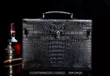 100% Genuine/Real Crocodile Skin Leather Men Briefcase Laptop Bag Top Handbag Black/Brown/Coffee Men Business Bag