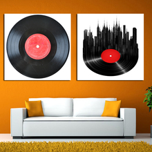 2017 2pcs/set music disc phonograph modular wall paintings retro wall paintings bedroom canvas wall art painting free shipping