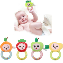 0-3 Y Baby Rattle Stuffed Plush Plant Fruit Toy 4 Style Apple Strawberry Mango Fruit Stuffed Plush Happy Monkey Gift 992343(China)