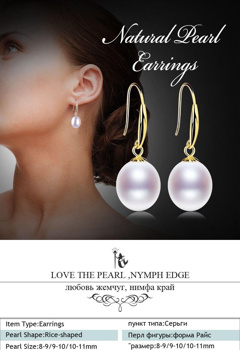 8-9 MM naturel café Akoya Freshwater Pearl Silver Dangle Earrings
