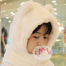 2017 New Fashion Cotton Warm Animal Hoodies Hat Scarf White Fluffy Warm One Piece Set Cute Bear Winter Caps For Women Girls(China)
