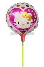 8.5 Inch 20pcs/set Hello Kitty Foil Balloons with Sticks Balloon With Stick Kitty Birthday Party Supplier Inflatable Toys(China)