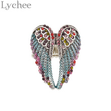 Lychee Multi Color Crystal Angel Wings Ring Bling Bling Rhinestone Wings Shape Finger Ring Jewelry For Women Dropshipping