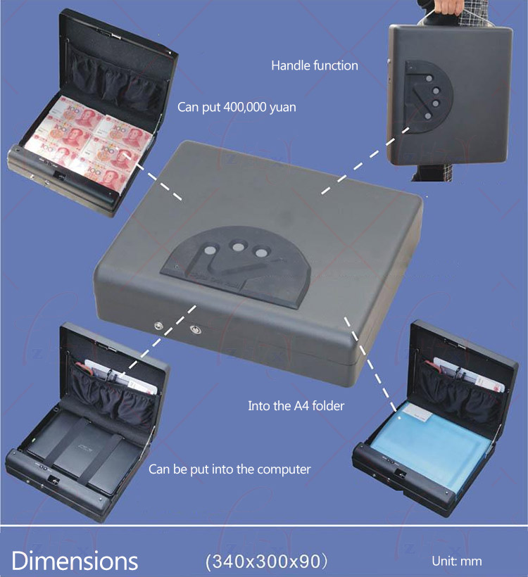 MD550 Fingerprint safe box four panel A4 file box,storage box laptop computer, mobile phone money Confidential document box