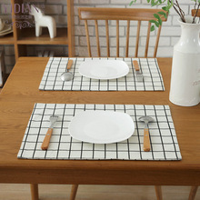 Polyester cotton Dining Mats Kitchen Accessories Table Pat Placemat Tableware Mat Coaster Coffee Tea Place Mat 32*45cm(China)