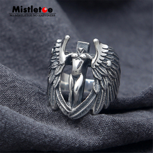Genuine 100% 925 Sterling Silver Vintage Punk Locomotive Headless angel With Wings Ring For Women Men Fashion Jewelry
