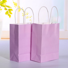 20pcs/lot Light purple kraft paper bag with handle Wedding Party Favor Paper Gift Bags 21*15*8cm(China)