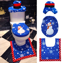 1 Set/3pc Fancy Happy Santa Blue snowman Toilet Seat Cover Rug Bathroom Set Decoration Rug Christmas Xmas Decoration(China)