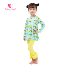 Kaiya Angel Toddler Girl Clothing Back To School Children's Clothing 2pcs Outfits Mini Shirt Yellow Leggings Bus Set For Girl(China)